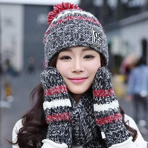 Women Winter Hat Scarves Gloves Set