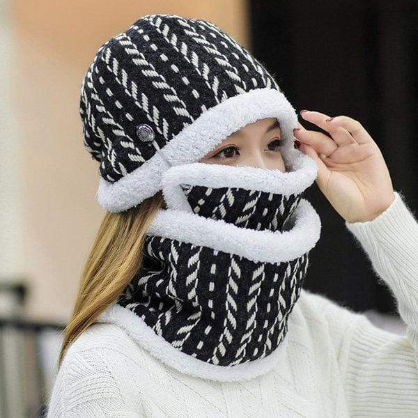 Womens Winter Beanie Hat Collar Masks Set