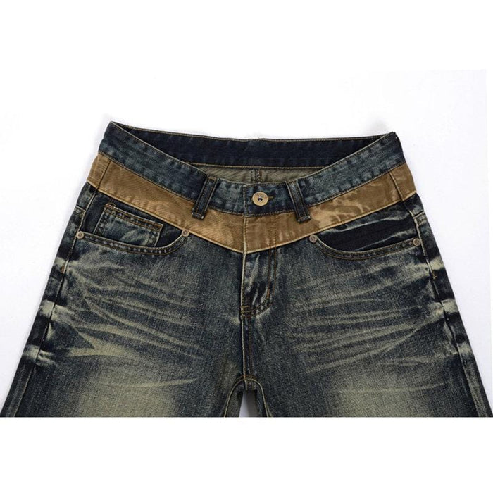 CN Yellow / 30 Retro Folds Washed Slim Fit Short Jeans