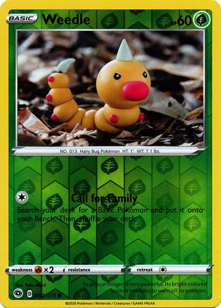 002/073 Weedle Common Reverse Holo Champion's Path - The Feisty Lizard