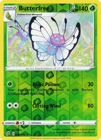 003/192 Butterfree Rare Reverse Holo Rebel Clash - The Feisty Lizard Melbourne Australia