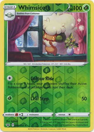 6/202 Whimsicott Rare Reverse Holo Sword & Shield - The Feisty Lizard