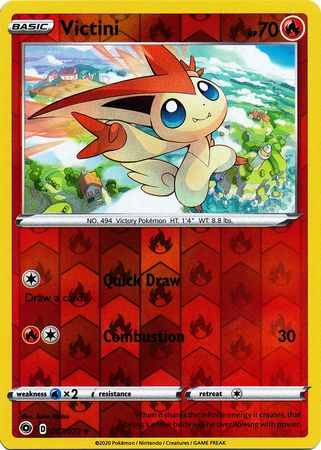 007/073 Victini Uncommon Reverse Holo Champion's Path - The Feisty Lizard