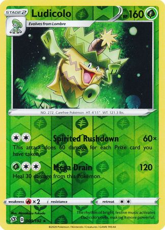 009/192 Ludicolo Rare Reverse Holo Rebel Clash - The Feisty Lizard Melbourne Australia