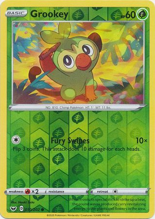 10/202 Grookey Common Reverse Holo Sword & Shield - The Feisty Lizard