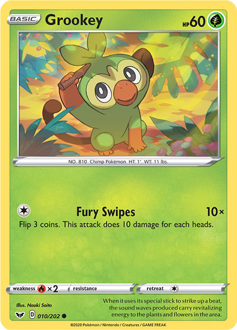 10/202 Grookey Common Sword & Shield Base Set - The Feisty Lizard Melbourne Australia