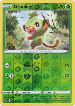 11/202 Grookey Common Reverse Holo Sword & Shield - The Feisty Lizard