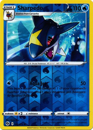 012/073 Sharpedo Uncommon Reverse Holo Champion's Path - The Feisty Lizard