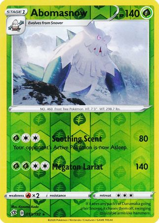 013/192 Abomasnow Rare Reverse Holo Rebel Clash - The Feisty Lizard Melbourne Australia