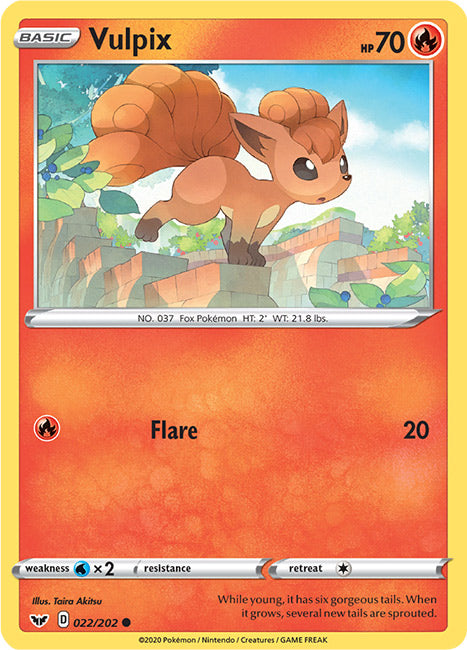 22/202 Vulpix Common Sword & Shield Base Set - The Feisty Lizard Melbourne Australia