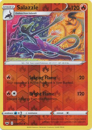 28/202 Salazzle Uncommon Reverse Holo Sword & Shield - The Feisty Lizard