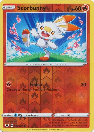 30/202 Scorbunny Common Reverse Holo Sword & Shield - The Feisty Lizard