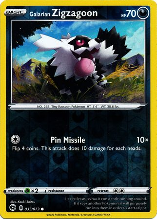 035/073 Galarian Zigzagoon Common Reverse Holo Champion's Path - The Feisty Lizard Melbourne Australia