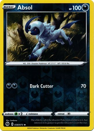 038/073 Absol Uncommon Reverse Holo Champion's Path - The Feisty Lizard