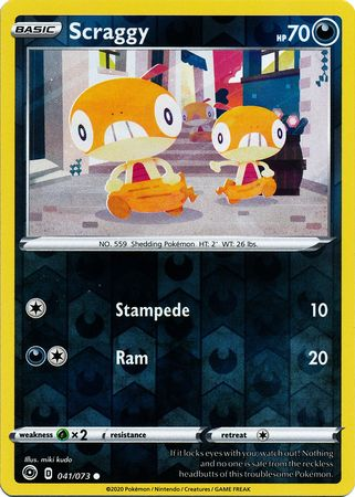 041/073 Scraggy Common Reverse Holo Champion's Path - The Feisty Lizard