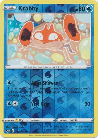 42/202 Krabby Common Reverse Holo Sword & Shield - The Feisty Lizard