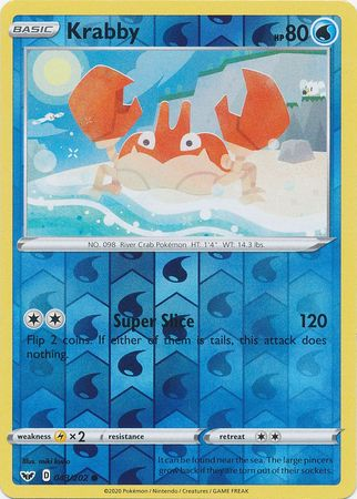 43/202 Krabby Common Reverse Holo Sword & Shield - The Feisty Lizard