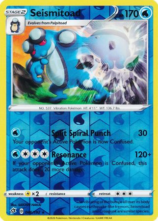 046/192 Seismitoad Rare Reverse Holo Rebel Clash - The Feisty Lizard Melbourne Australia