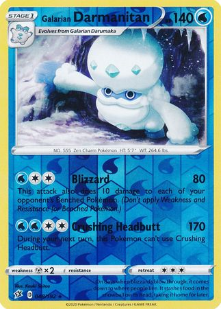 048/192 Galarian Darmanitan Rare Reverse Holo Rebel Clash - The Feisty Lizard Melbourne Australia
