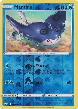 52/202 Mantine Uncommon Reverse Holo Sword & Shield - The Feisty Lizard Melbourne Australia