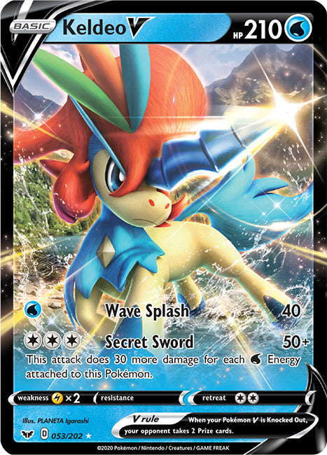 53/202 Keldeo V Ultra Rare Sword & Shield Base Set - The Feisty Lizard Melbourne Australia