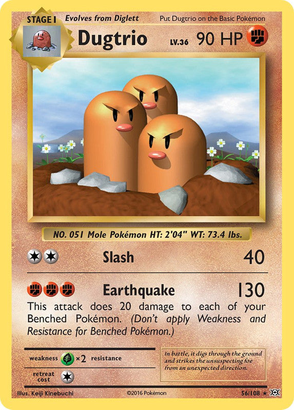 56/108 Dugtrio Rare Evolutions - The Feisty Lizard