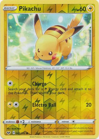65/202 Pikachu Common Reverse Holo Sword & Shield - The Feisty Lizard