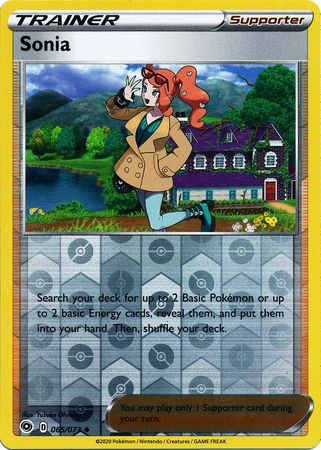065/073 Sonia Trainer Uncommon Reverse Holo Champion's Path - The Feisty Lizard