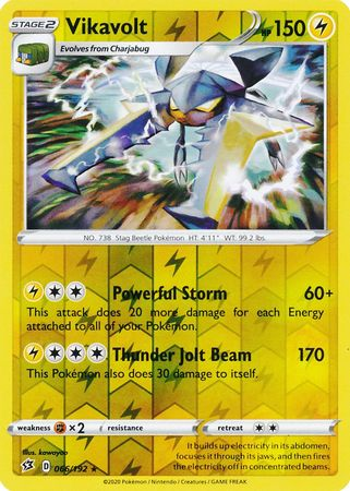 066/192 Vikavolt Rare Reverse Holo Rebel Clash - The Feisty Lizard Melbourne Australia