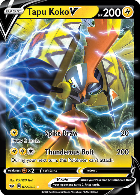 72/202 Tapu Koko V Ultra Rare Sword & Shield Base Set - The Feisty Lizard Melbourne Australia