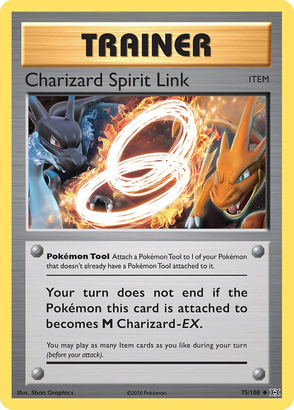 75/108 Charizard Spirit Link Uncommon Trainer Evolutions - The Feisty Lizard Melbourne Australia