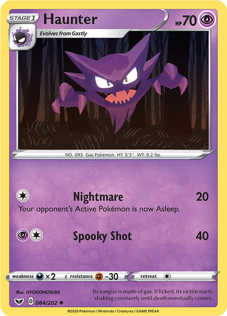 84/202 Haunter Uncommon Sword & Shield Base Set - The Feisty Lizard