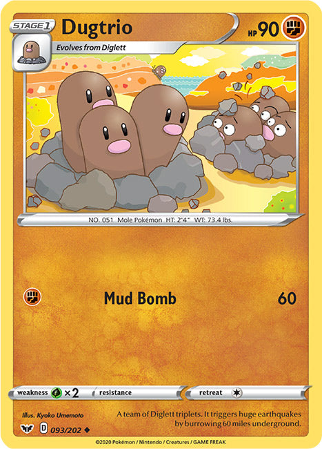 93/202 Dugtrio Uncommon Sword & Shield Base Set - The Feisty Lizard Melbourne Australia