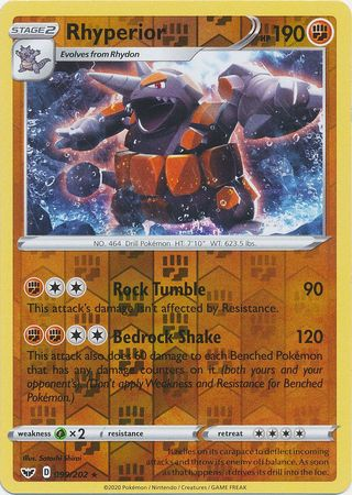 99/202 Rhyperior Rare Holo Reverse Holo Sword & Shield - The Feisty Lizard Melbourne Australia