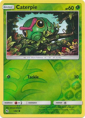 1/68 Caterpie Common Reverse Holo Hidden Fates - The Feisty Lizard