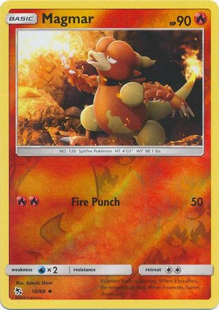 10/68 Magmar Uncommon Reverse Holo Hidden Fates - The Feisty Lizard
