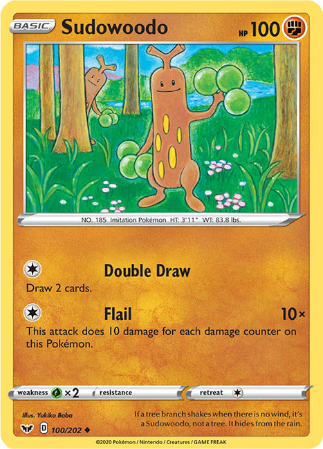 100/202 Sudowoodo Uncommon Sword & Shield Base Set - The Feisty Lizard