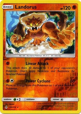 103/214 Landorus Holo Rare Reverse Holo Unbroken Bonds - The Feisty Lizard