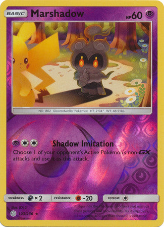103/236 Marshadow Rare Reverse Holo Cosmic Eclipse - The Feisty Lizard