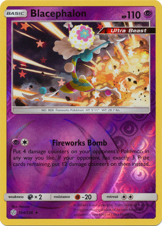104/236 Blacephalon Rare Holo Reverse Holo Cosmic Eclipse - The Feisty Lizard