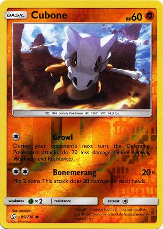 105/236 Cubone Common Reverse Holo - The Feisty Lizard