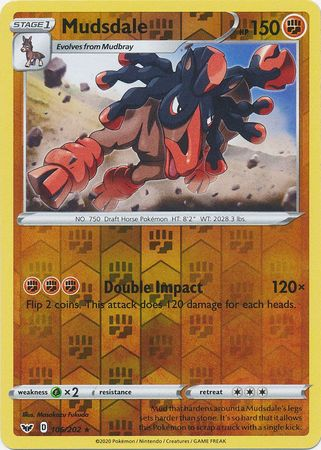 106/202 Mudsdale Rare Reverse Holo Sword & Shield - The Feisty Lizard