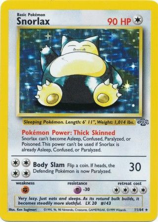 11/64 Snorlax Holo Rare Jungle Set Unlimited - The Feisty Lizard Melbourne Australia