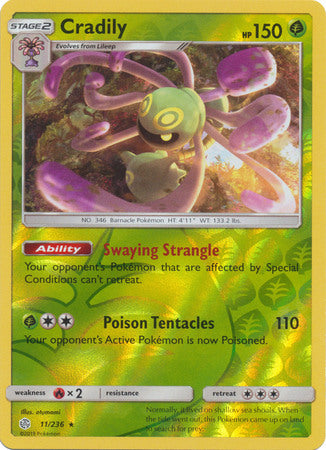 11/236 Cradily Rare Reverse Holo Cosmic Eclipse - The Feisty Lizard