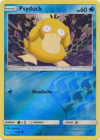 11/68 Psyduck Common Reverse Holo Hidden Fates - The Feisty Lizard