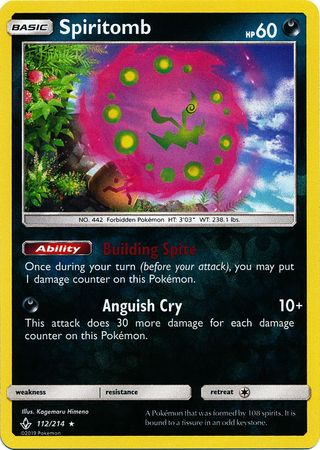 112/214 Spiritomb Holo Rare Reverse Holo Unbroken Bonds - The Feisty Lizard