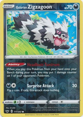 117/202 Galarian Zigzagoon Common Reverse Holo Sword & Shield - The Feisty Lizard Melbourne Australia