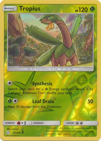 12/236 Tropius Uncommon Reverse Holo Cosmic Eclipse - The Feisty Lizard Melbourne Australia
