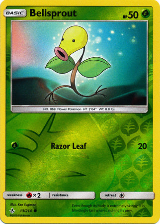 13/214 Bellsprout Common Reverse Holo Unbroken Bonds - The Feisty Lizard