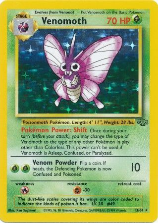 13/64 Venomoth Holo Rare Jungle Set Unlimited - The Feisty Lizard Melbourne Australia